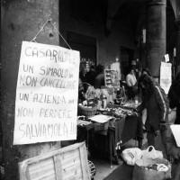 Iniziativa di sensibilizzazione durante la vertenza contro la smobilitazione, autunno 1997.