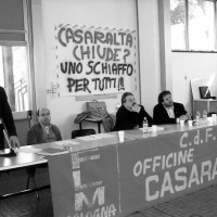 Intervento di Maurizio Landini all'assemblea aperta alla cittadinanza durante l'occupazione della fabbrica, 1997.