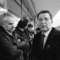 Incontro con Romano Prodi durante la vertenza contro la smobilitazione, 1997.